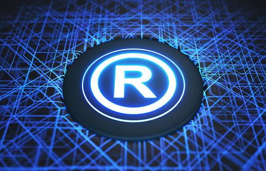 Registered mark symbol on digital background