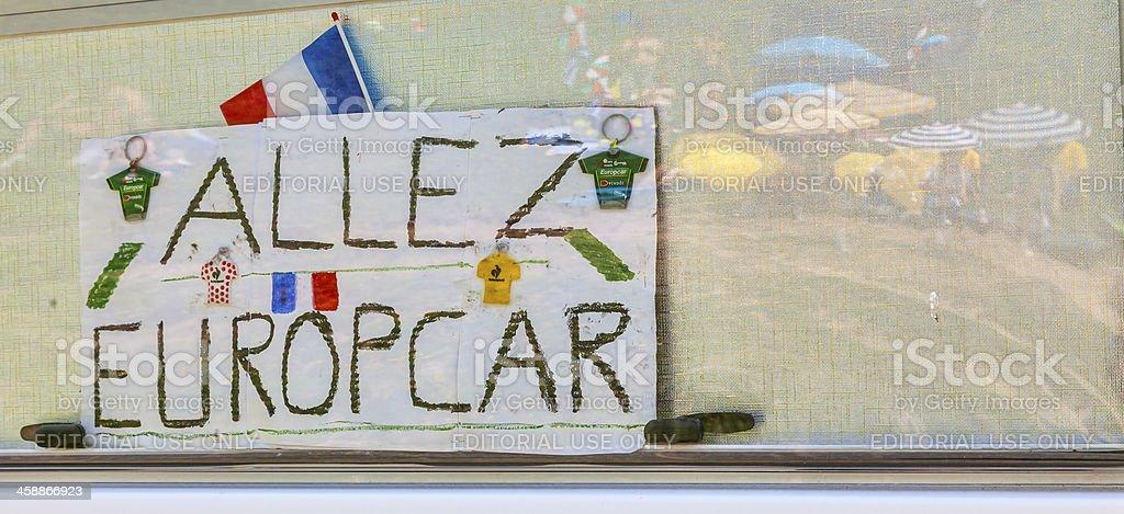 Inscription During Le Tour de France royalty-free stock photo