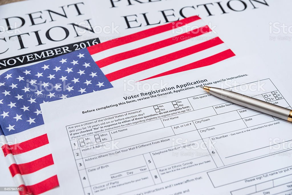 Registration form for presidential election 2016 with flag of usa stock photo
