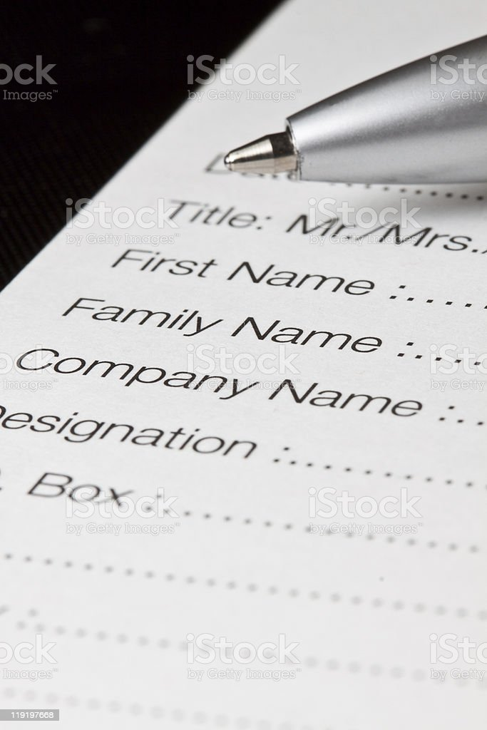 Registration form royalty-free stock photo