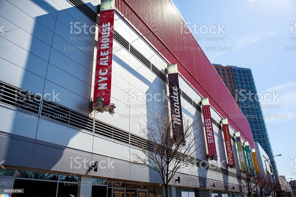Rego Center. Shopping center and luxury apartments in Rego Park. stock photo