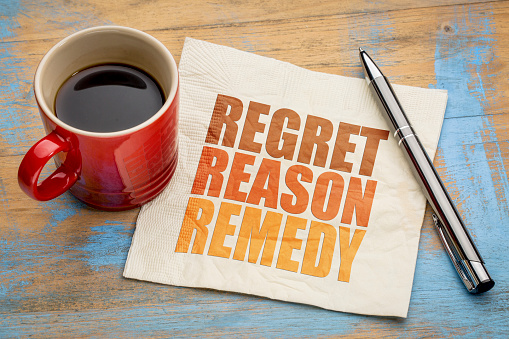 istock regret, reason, remedy word abstract 666672416