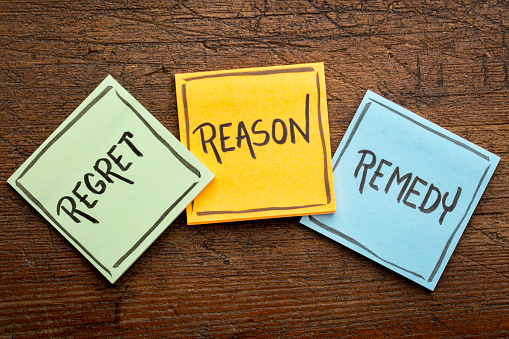 istock regret, reason, remedy word abstract 803479982