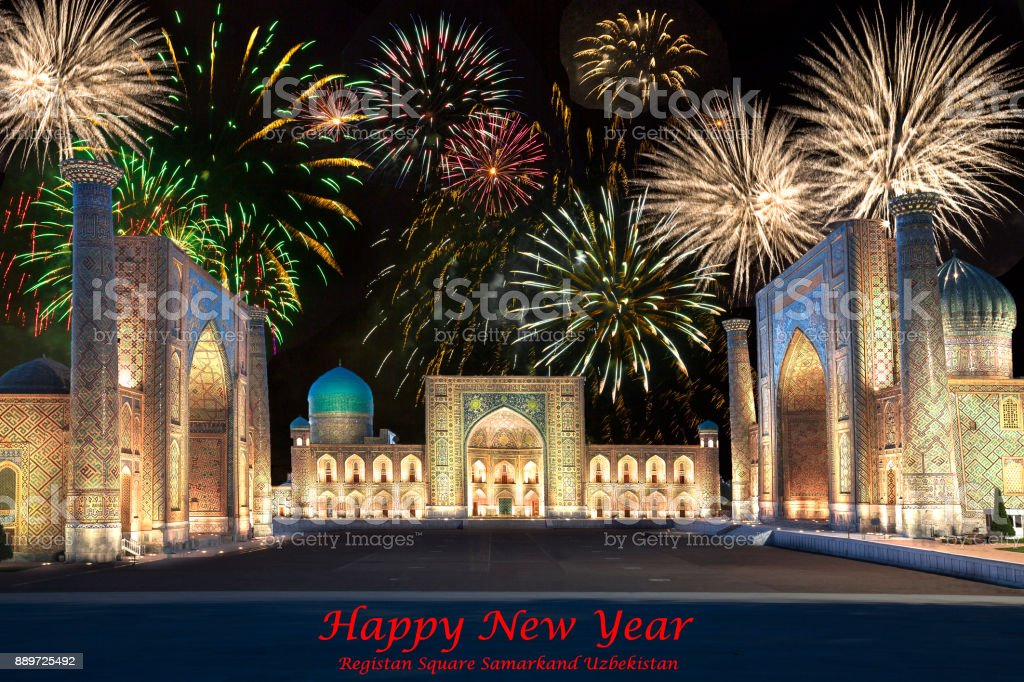Regsitan Square In Samarkand Uzbekistan With Fireworks Stock Photo ...