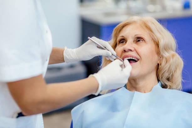 Regular checkup at the dentist stock photo