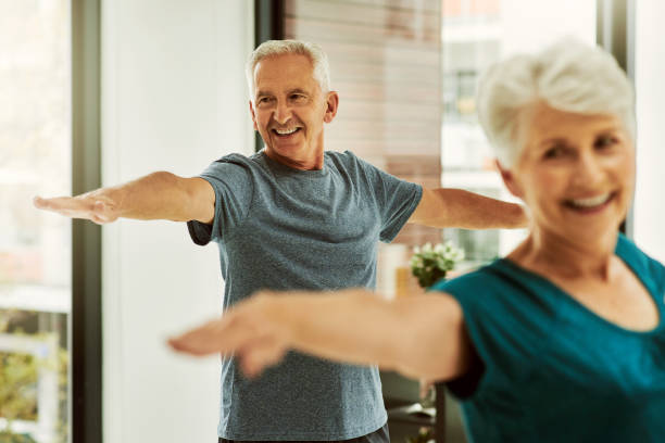 Regular exercise reduces the risk of chronic diseases stock photo