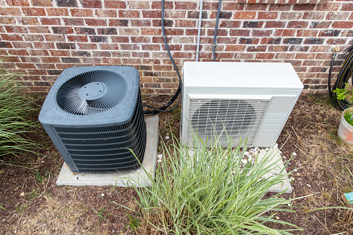 istock Regular home HVAC air conditioner system and mini-split next to each other. 1152925463