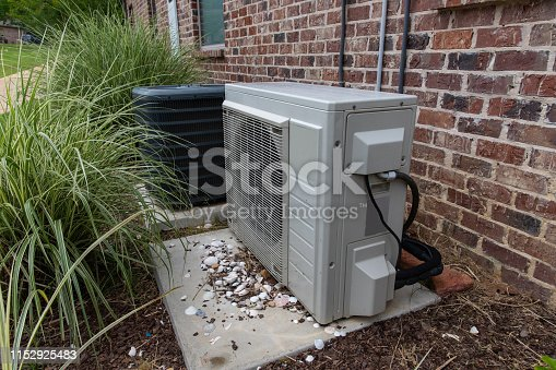 istock Regular home HVAC air conditioner system and mini-split next to each other. 1152925483