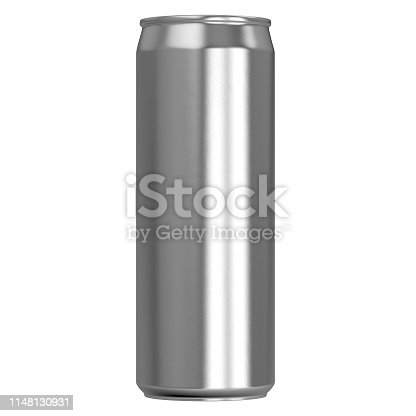 An unbranded slim brushed aluminum tin can on an isolated white studio backgound - 3D render
