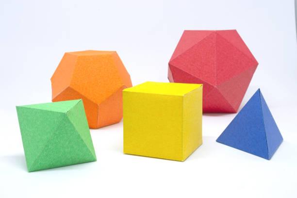 vaste stoffen: tetrageder, hexahedron, octaëder, dodecaëder en icosaëder - veelvlakkig stockfoto's en -beelden