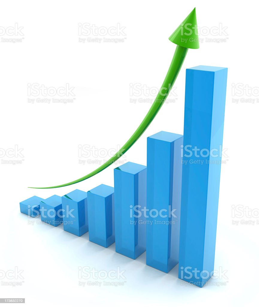 Regular upward trend on business graph stock photo