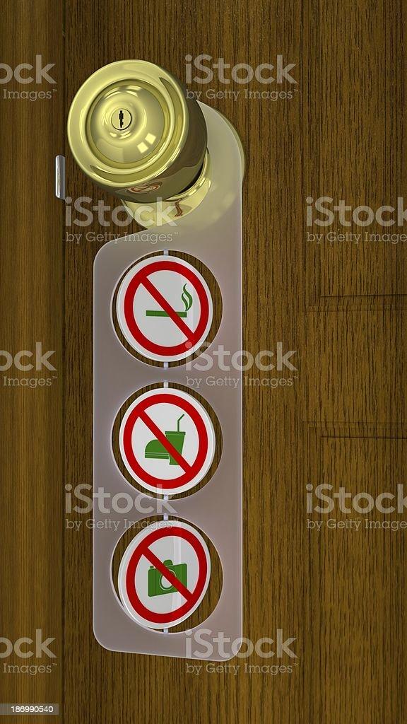 Regular Warning Sign of Shop Entry - Door Hanger Style royalty-free stock photo