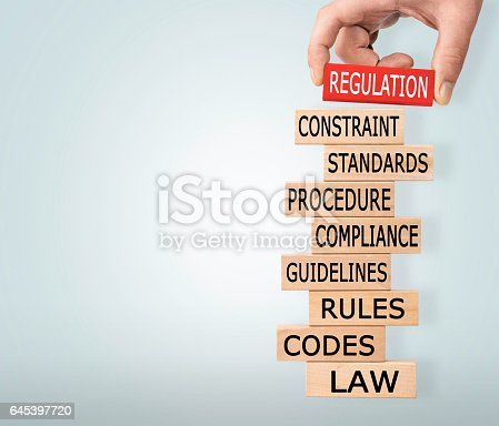 istock Regulation Concept with Wooden Blocks 645397720