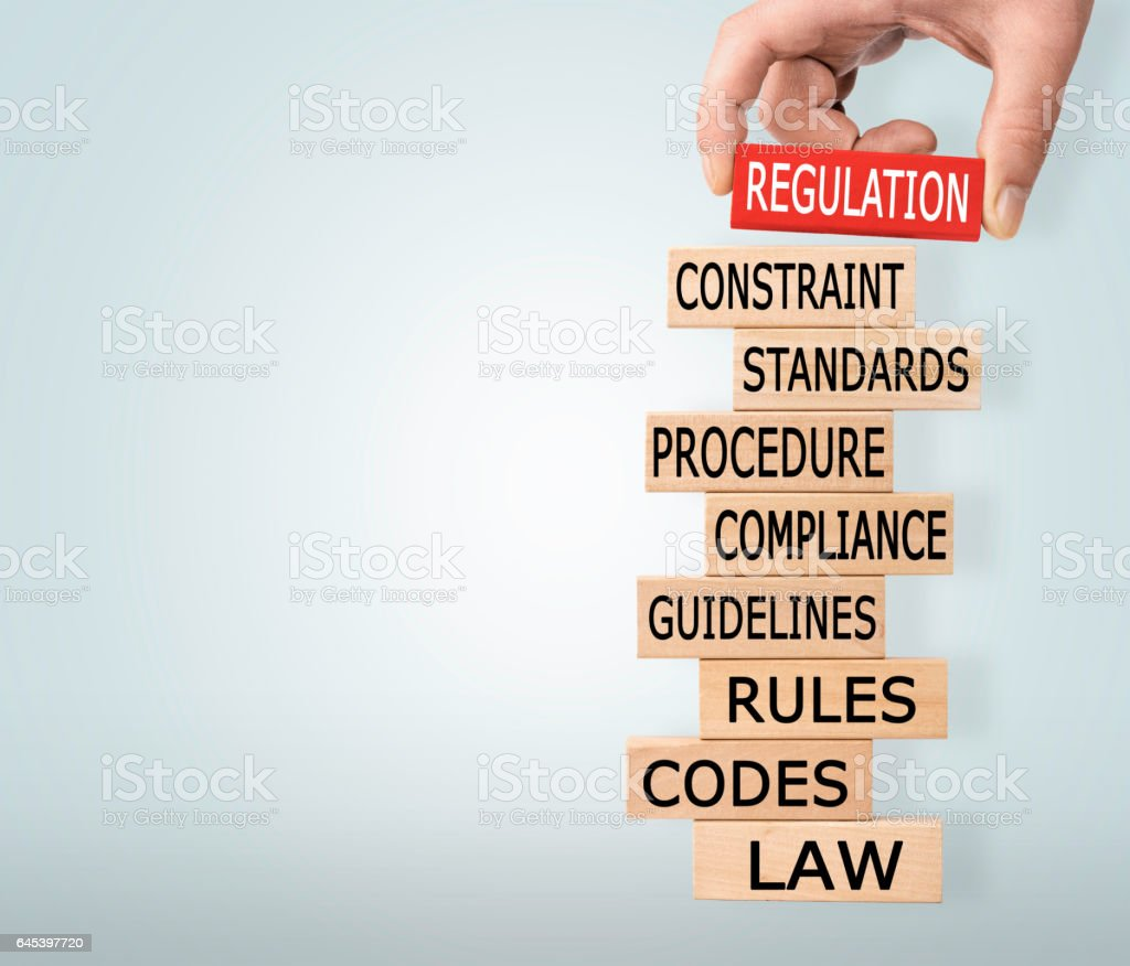 Regulation Concept with Wooden Blocks stock photo