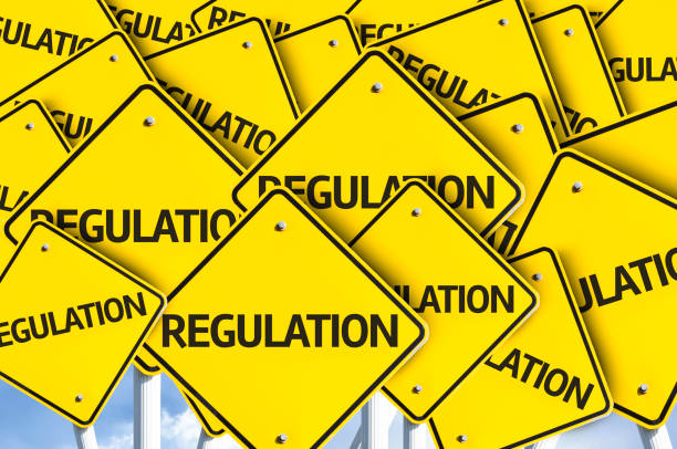 Regulation directional sign stock photo