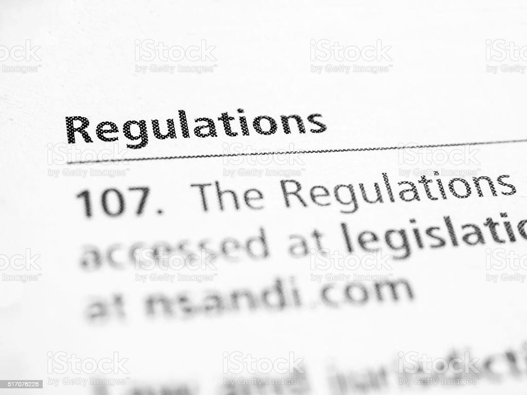 Regulations stock photo