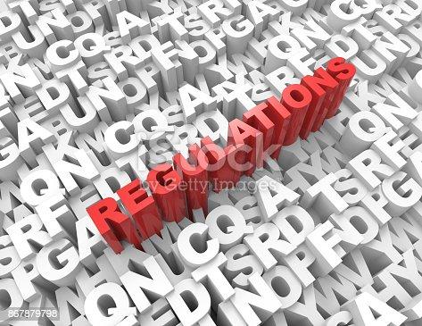 508610235 istock photo Regulations word on alphabet 3d render 867879798