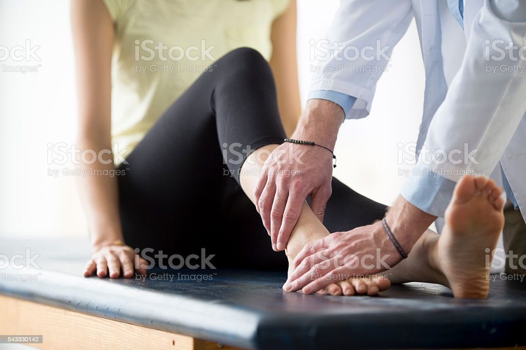 Rehabilitation After an Ankle Injury stock photo