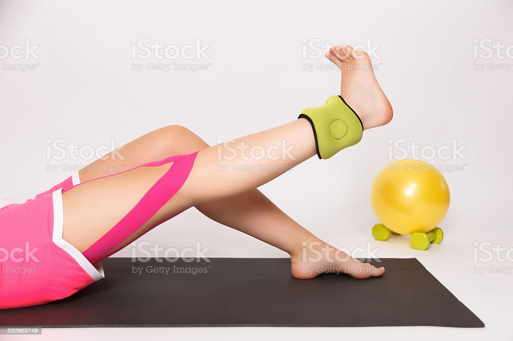 Rehabilitation after leg injury stock photo