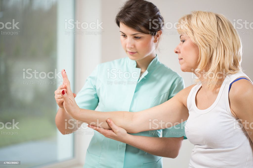Rehabilitation after wrist injury stock photo