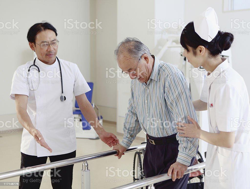 Rehabilitation in Japanese hospital stock photo