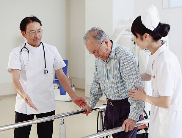 Rehabilitation in Japanese hospital stock photo