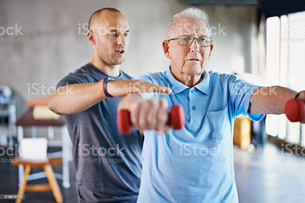 Rehabilitation is never easy stock photo