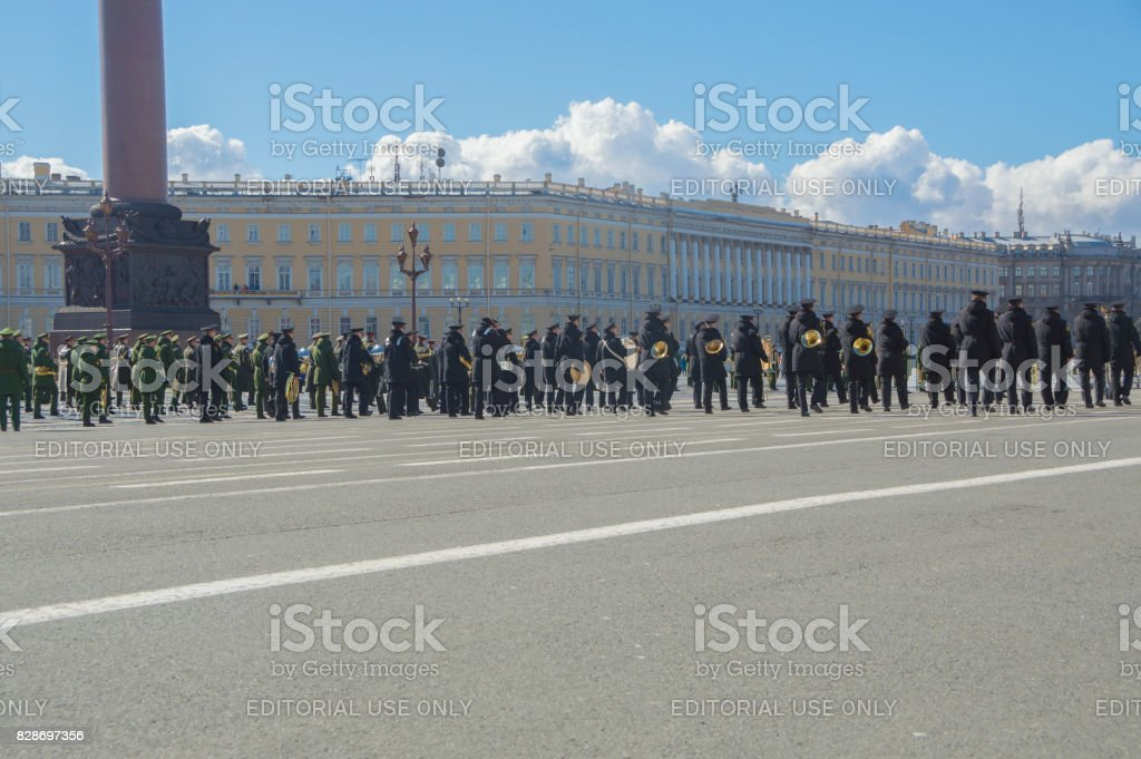 rehearsal of the military brass band at the left wing of the General staff stock photo