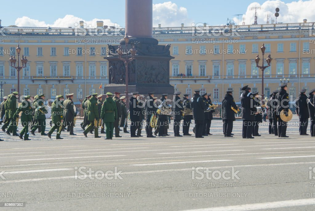 rehearsal of the military brass band from the Alexander column stock photo