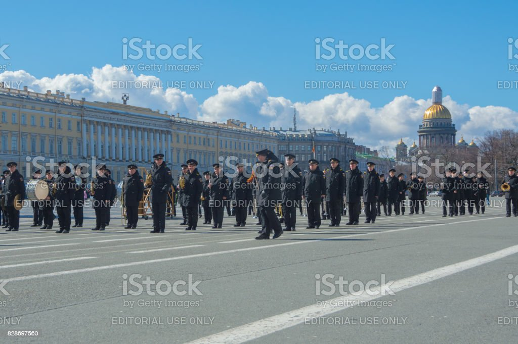 rehearsal of the military brass band on the background of St. Isaac's Cathedral stock photo