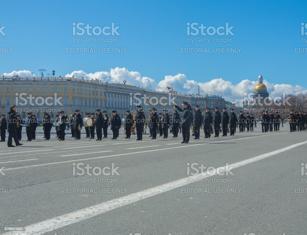 rehearsal of the military brass band on the background of the General staff building and St. Isaac's Cathedral stock photo