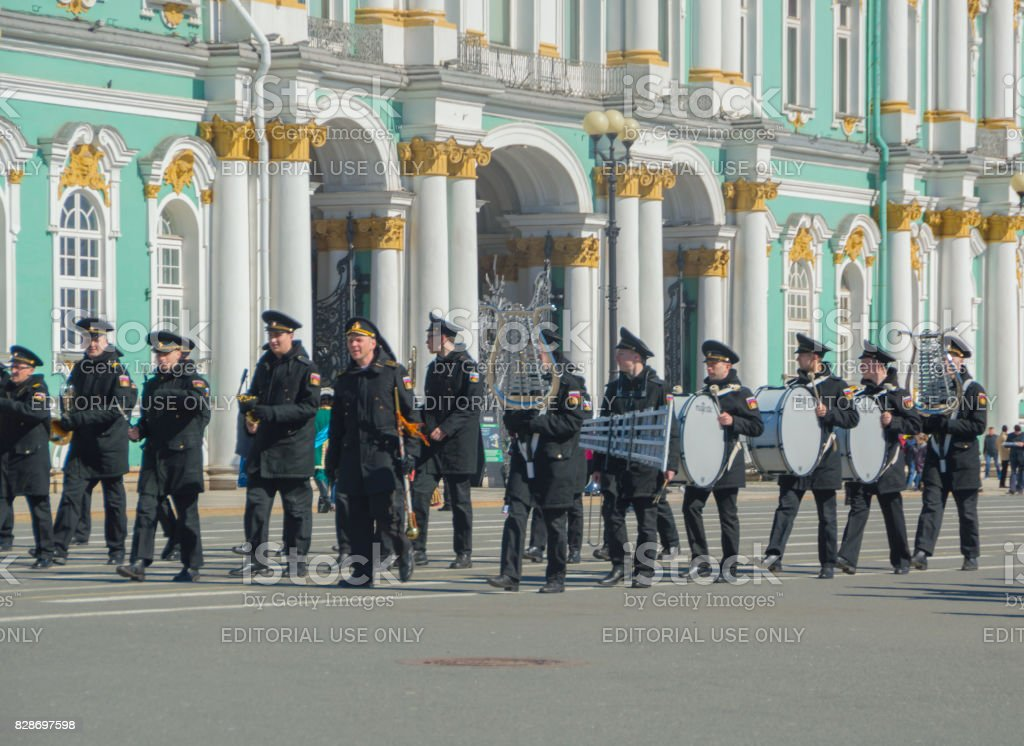 rehearsal of the military brass band on the background of the Hermitage stock photo