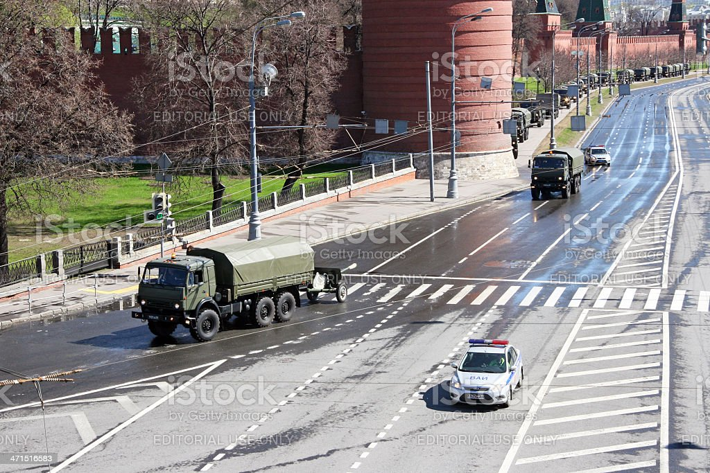 Rehearsal of the parade (with armored howitzers) in Moscow royalty-free stock photo