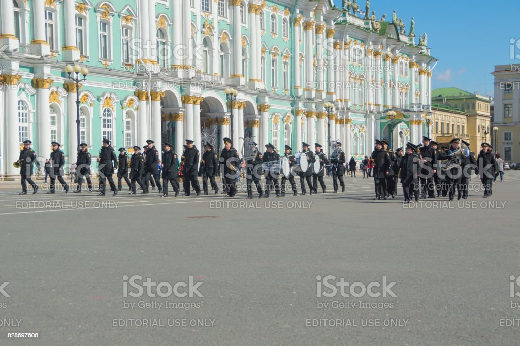 rehearsal of the victory parade at the Hermitage stock photo