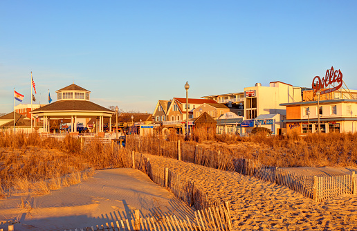 Rehoboth Beach, Delaware, USA - February 24, 2020: Morning view of a mile-long boardwalk lined with old-fashioned family amusements, attractions, and beach stores