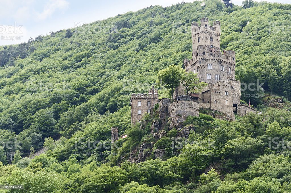 Reichenstein Castle on the Rhine River, Germany stock photo
