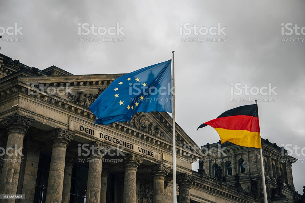 Reichstag and flags stock photo