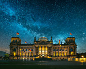The Reichstag building in Berlin, Germany, under a starry sky