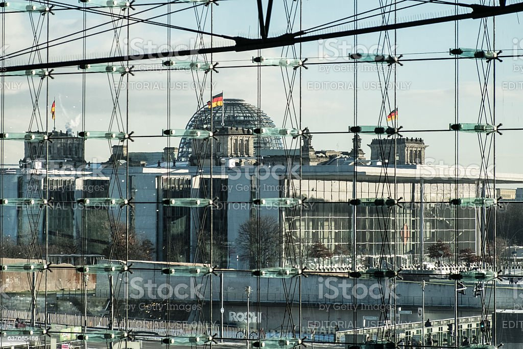 Reichstag building and Pal Loebe Haus, Berlin stock photo