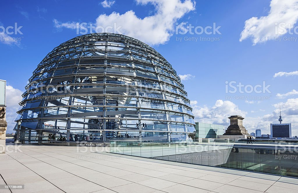 Reichstag building with dome in Berlin stock photo