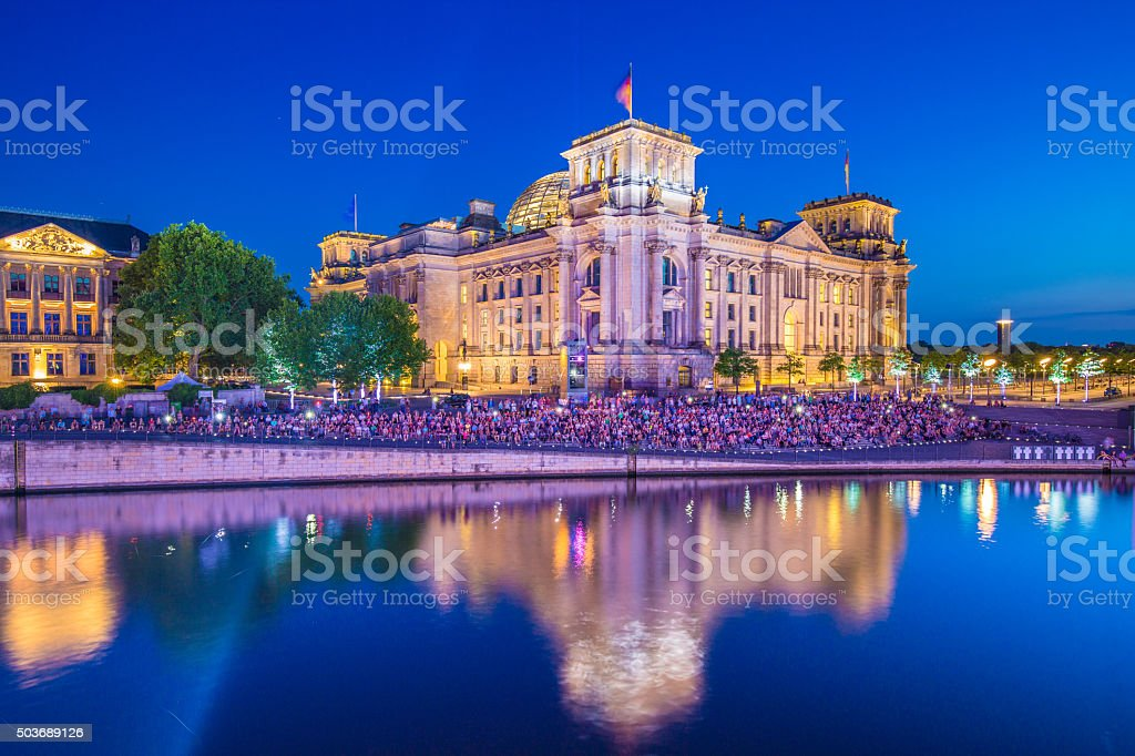 Reichstag building with Spree river at night, Berlin, Germany stock photo