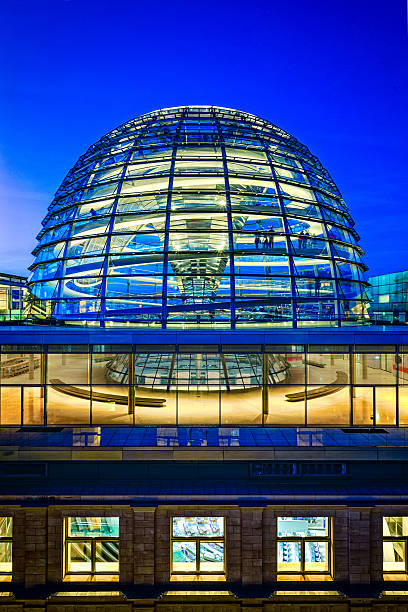 reichstag dome in berlin at dusk - cupola stock pictures, royalty-free photos & images