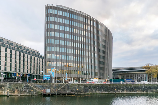 Reichstagufer with the landing pier for boats and the office building Spreedreieck in Berlin, Germany