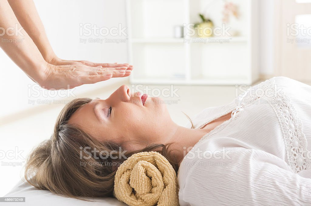 Reiki healing stock photo