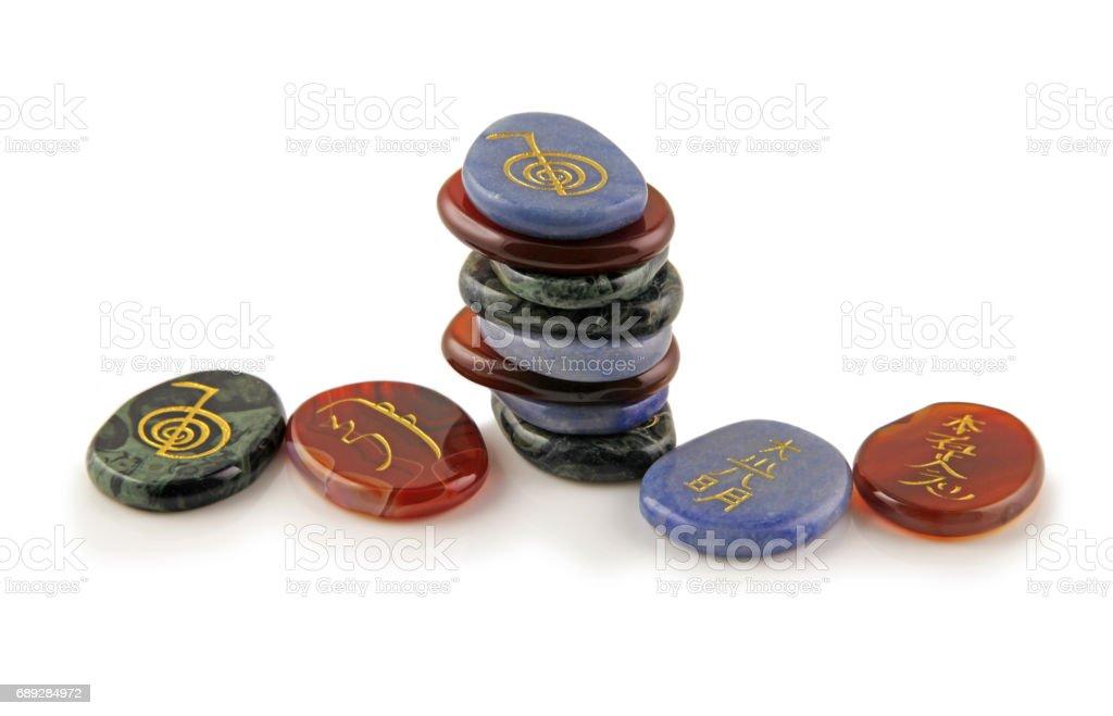 Reiki Healing Symbol Stones stock photo