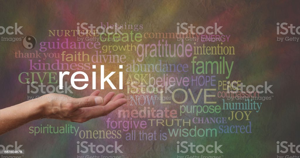 Reiki in the palm of your hand Word Cloud stock photo