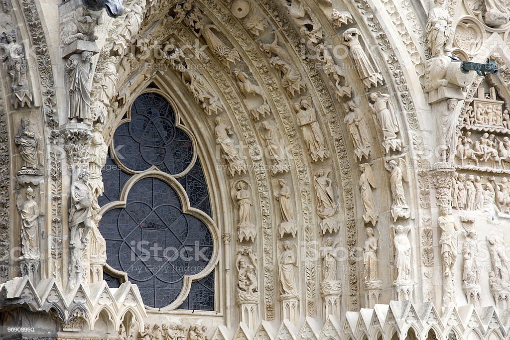 Reims Cathedral Detail royalty-free stock photo