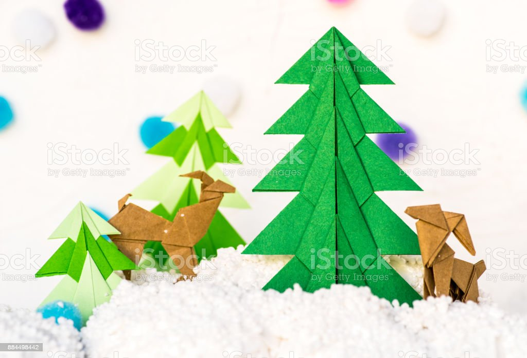 Reindeer And Fir Tree Origami Paper Craft Stock Photo More