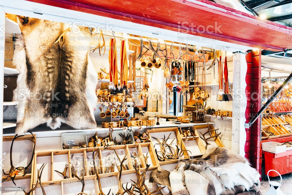 c7b2a1afe14 Reindeer Fur Horns Christmas Market In Rovaniemi Finland Stock Photo ...