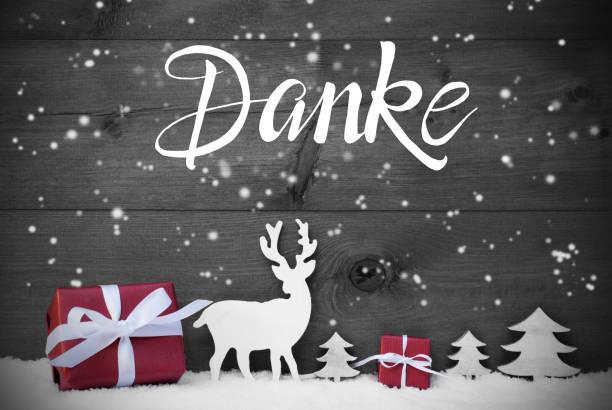 Reinde, Geschenk, Baum, Schneeflocken, Danke bedeutet Danke – Foto